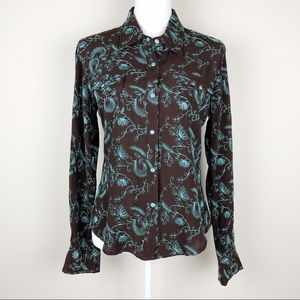 ROPER   Floral Embellished Embroidery Button Down